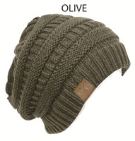 Short Alternating-Knit Beanie
