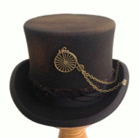 Distressed Penny-Farthing Steampunk Top Hat in Wool Felt