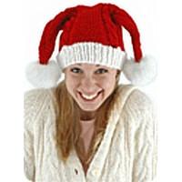 Knit Santa Hat Double Pom-Poms