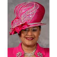 Eve Andrea Asymmetric Brim Church Hat in Hot Pink