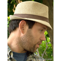 Linen  Two Tone Fedora Hat