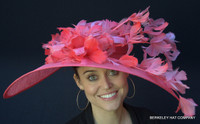 Coral Wide Brim Kentucky Derby Hat FREE US EXPRESS