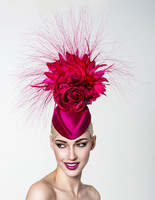 Raspberry, Pillbox Fascinator by Arturo Rios