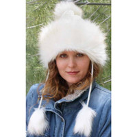 Crocheted and Faux Fur Pom Pom Trapper