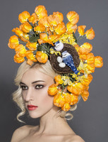 Lexy, Orange Sweet-Pea Fascinator by Arturo Rios