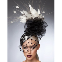 Julia, Black & White Fascinator by Arturo Rios