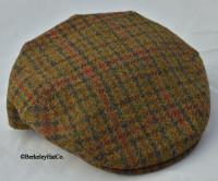 HARRIS TWEED IVY FLAT CAP, OLIVE HOUNDSTOOTH (IR67)