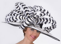 Black and White Madison Ave Feather Derby Hat