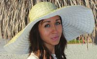 Extra Wide Brim Metallic Ribbon Sun Hat