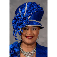 Sophisticated Royal Blue Church Hat by Eve Andrea