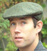 Herringbone Irish Wool Tweed Ivy Cap, Green (IR54)