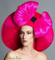 Hannah, Hot Pink Derby Hat by Arturo Rios