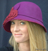 Wool Felt Cloche Hat with Knit Flowers