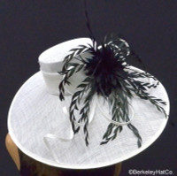 White and Black Feather Extravaganza Derby Hat