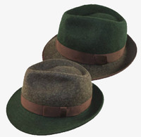 Brown & Green Two-Tone Wool Fedora