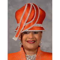 Orange Bubble Crown Church Hat by Scruples