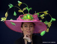 Feather SprayPink Sinamay Derby Hat with Yellow and Green Feathers