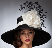 Leslie, Black & White Derby Hat, Arturo Rios