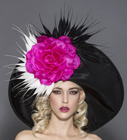 Rita, Black Pink & White Derby Hat by Arturo Rios