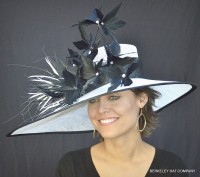 White and Black May Madness Derby Hat.