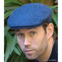 Herringbone Irish Wool Tweed Ivy Cap, Blue (IR47)