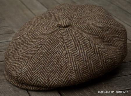 irish brown herringbone cabbie cap ir73