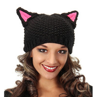 Knit Pussy Cat Beanie in Black with Pink Ears