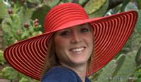 Red Big Brim Summer Hat, Ribbon.