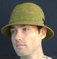 Irish Walking Hat Olive/Gold Donegal Tweed IR09