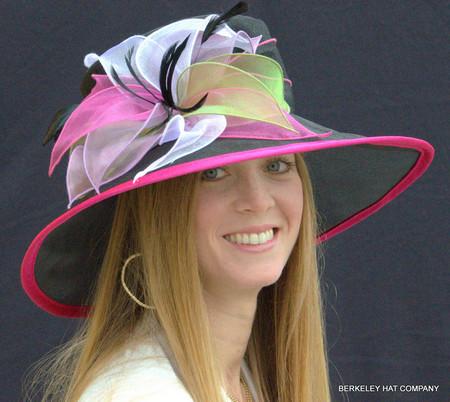 Organza Kentucky Derby Hat, Multicolored Petals. Black Hat With Hot Pink Trim.