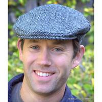 Harris Tweed Ivy Cap, Grey Herringbone  (IR15)