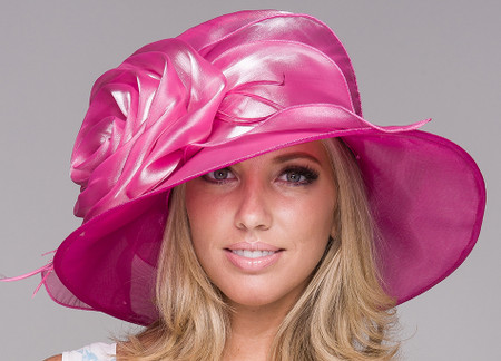 Easy Travelling Kentucky Derby Hat - Hot Pink.