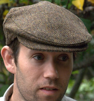 Irish Herringbone Cap Olive/Brown  (IR27)