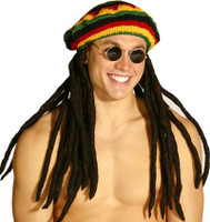 dreadlock rasta hat with attached locks