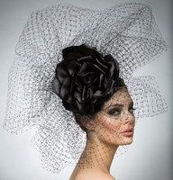 Adele, Black Fascinator by Arturo Rios