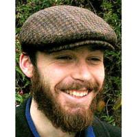 HARRIS TWEED IVY FLAT CAP,  BROWN HOUNDSTOOTH  (IR13)