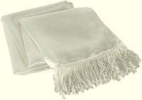 White aviator scarf with fringe ends