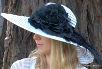 Spectator Rose and Ostrich Feather Hat.