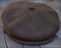Irish Newsboy Cap, Brown Wool Barleycorn Tweed