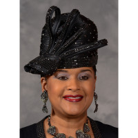 Black Rhinestone Cloche Church Hat, Eve Andrea
