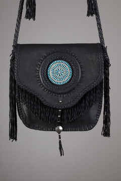 Agua Caliente Leather Bag - Black with Zuni Cluster