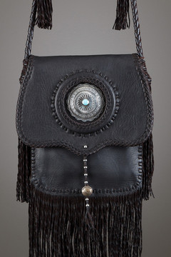 Cree Leather Bag—Chocolate with Silver Concho