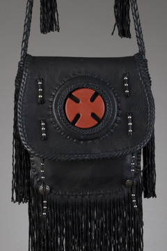 Scout Leather Bag - Black with Pipestone Cross