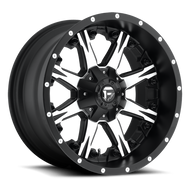 MHT Fuel 1 Piece Nutz Wheel Black and Machined Available in Multiple Sizes - D541 *Product image shown not representative of all configurations. Vehicle specific fitment will change offset, dish and center profile.