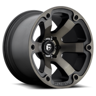 MHT Fuel 1 Piece Beast Wheel Black and Machined with Dark Tint - D564 *Product image shown not representative of all configurations. Vehicle specific fitment will change offset, dish and center profile.