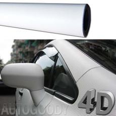 Premium 4D Gloss WHITE Carbon Fiber Vinyl Film Wrap Bubble Free Air Release