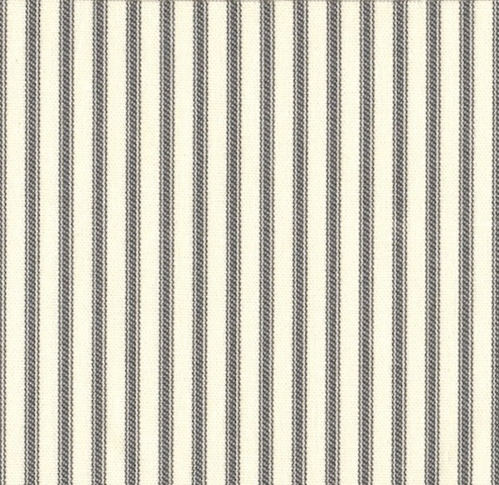 French Country Brindle Gray Ticking Stripe Gathered