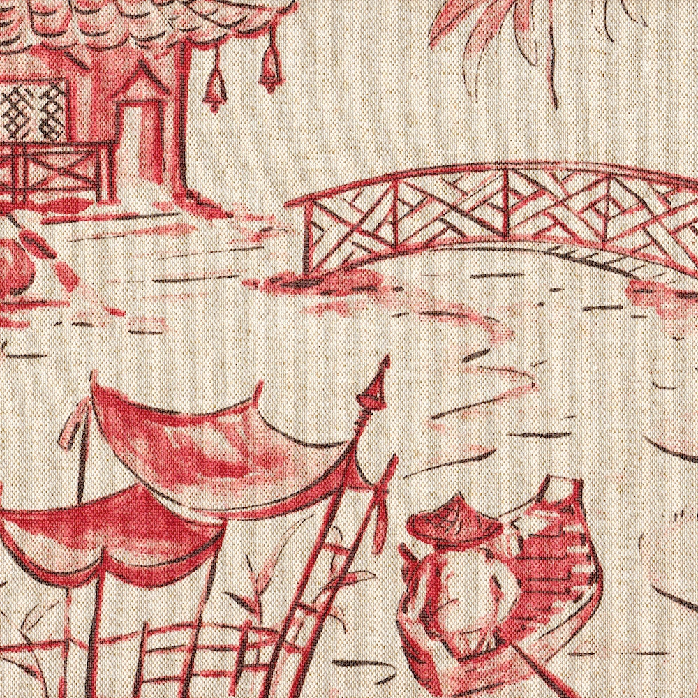 Pagodas Coral Oriental Toile Gathered Bedskirt Close To