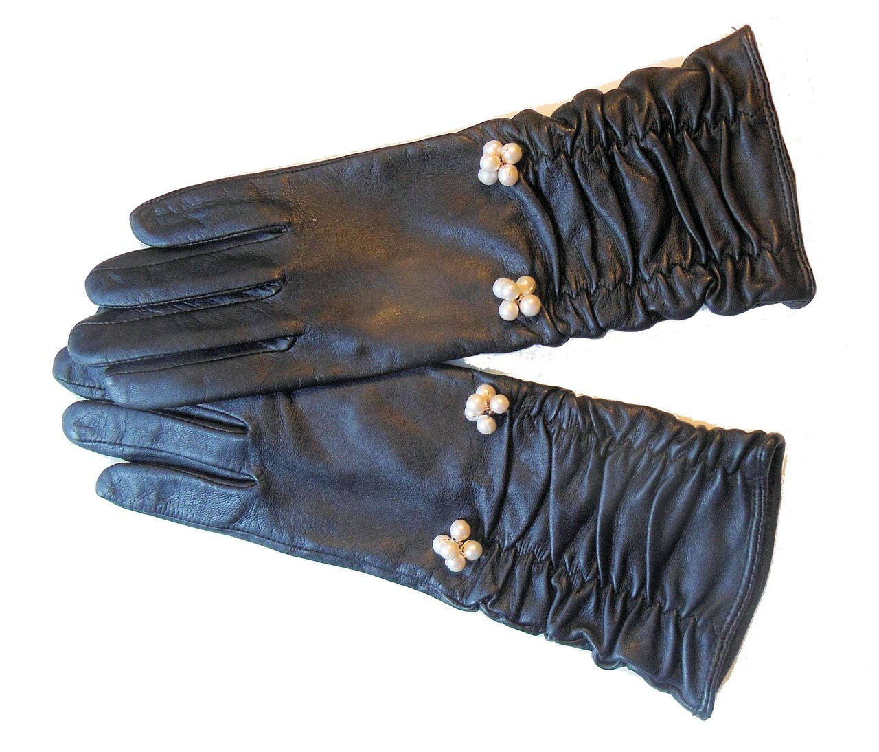 Handmade Scrunchie  Leather Gloves with Genuine Pearl Adornment.