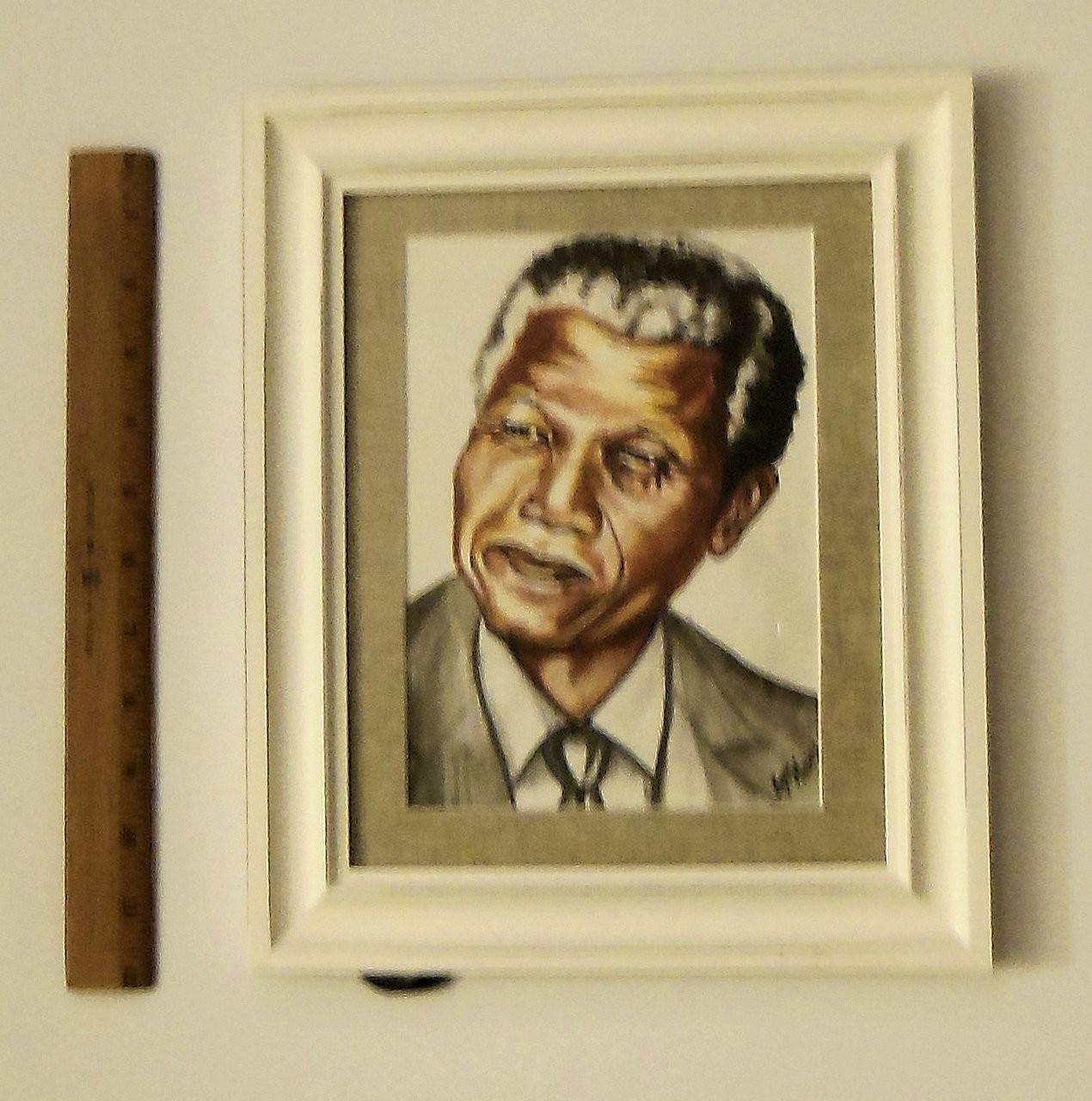 """Nelson Mandela""  Framed oil paint on paper.  Zimbabwe Collection"